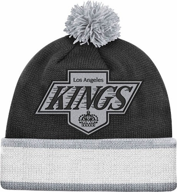 Los Angeles Kings Vintage Jersey Stripe Cuffed Knit Hat w/ Pom