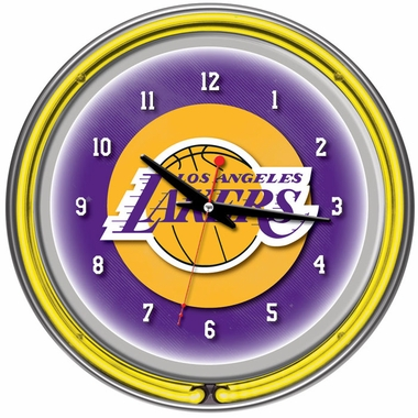 Los Angeles Lakers 14 Inch Neon Clock