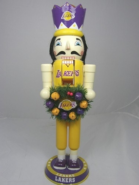 Los Angeles Lakers 14 Inch Wreath Nutcracker Figurine