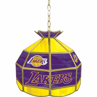 Los Angeles Lakers 16 Inch Diameter Stained Glass Pub Light