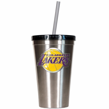 Los Angeles Lakers 16oz Stainless Steel Insulated Tumbler with Straw