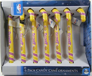 Los Angeles Lakers 2010 Set of 6 Candy Cane Ornaments