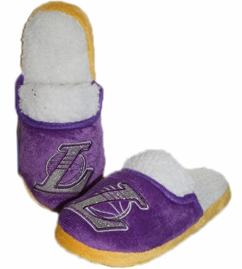 Los Angeles Lakers 2012 Womens Team Color Sherpa Glitter Slippers