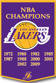 """Los Angeles Lakers 24""""x36"""" Wool Dynasty Banner"""