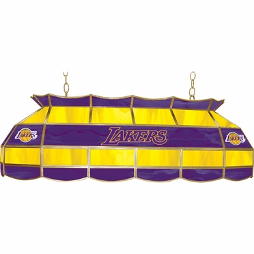 Los Angeles Lakers 40 Inch Rectangular Stained Glass Billiard Light