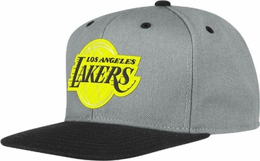 Los Angeles Lakers Adidas Grey Snap Back Hat (Neon Yellow Logo)