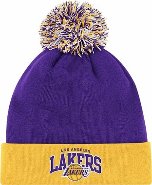 Los Angeles Lakers Arched Logo Vintage Cuffed Pom Hat