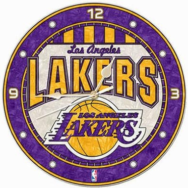 Los Angeles Lakers Art Glass Clock