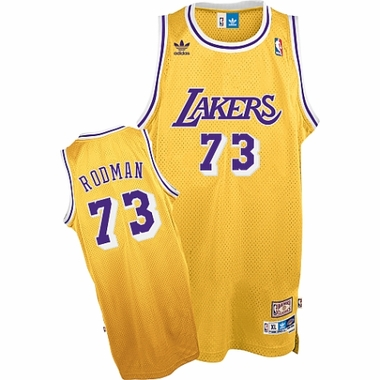 Los Angeles Lakers Dennis Rodman Adidas Team Color Throwback Replica Premiere Jersey