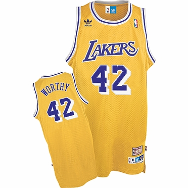 Los Angeles Lakers James Worthy Adidas Team Color Throwback Replica Premiere Jersey