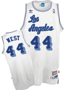 Los Angeles Lakers Jerry West Adidas White Throwback Replica Premiere Jersey - X-Large