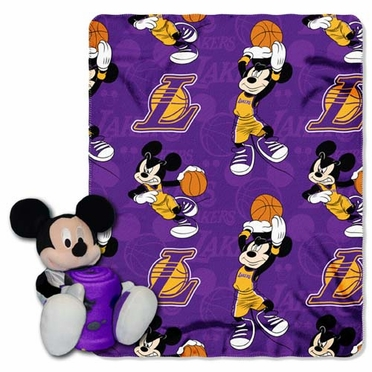 Los Angeles Lakers Mickey Hugger with Small Fleece Throw