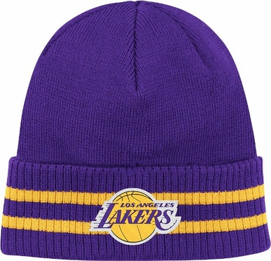 Los Angeles Lakers Mitchell & Ness NBA Vintage Stockey Stripe Cuffed Knit Hat