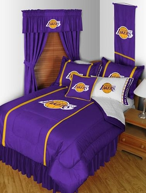 Los Angeles Lakers SIDELINES Jersey Material Comforter - Twin