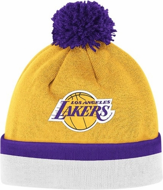 Los Angeles Lakers Vintage Jersey Stripe Cuffed Knit Hat w/ Pom