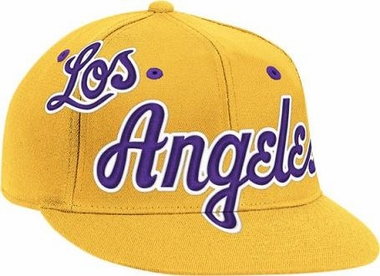 Los Angeles Lakers Vintage Wordmark Flat Bill Flex Hat