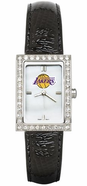 Los Angeles Lakers Women's Black Leather Strap Allure Watch