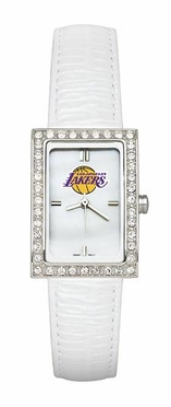 Los Angeles Lakers Women's White Leather Strap Allure Watch