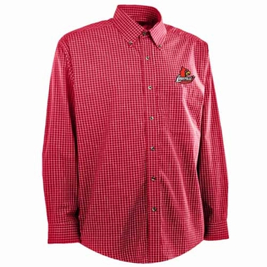 Louisville Mens Esteem Check Pattern Button Down Dress Shirt (Team Color: Red)