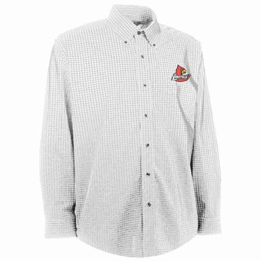 Louisville Mens Esteem Check Pattern Button Down Dress Shirt (Color: White)