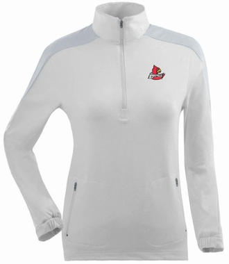 Louisville Womens Succeed 1/4 Zip Performance Pullover (Color: White)