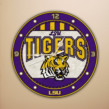 LSU Art Glass Clock