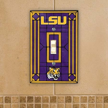 LSU Art Glass Lightswitch Cover