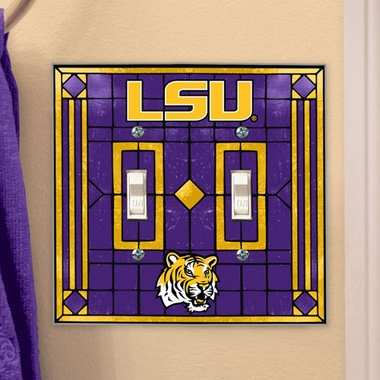 LSU Art Glass Lightswitch Cover (Double)