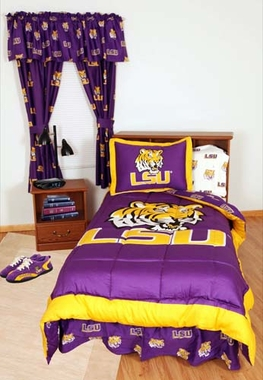 LSU Bed in a Bag Queen - With White Sheets