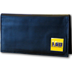 LSU Black Leather Checkbook Cover