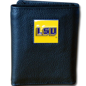 LSU Black Leather Trifold Wallet (F)