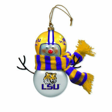 LSU Blown Glass Snowman Ornament (Set of 2)