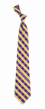 LSU Check Poly Necktie