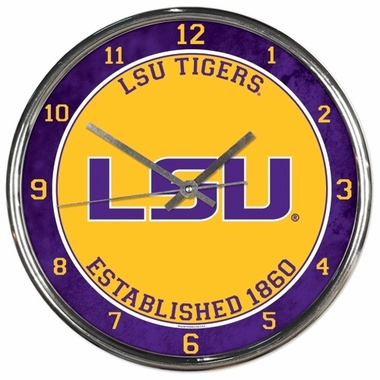 LSU Tigers Round Chrome Wall Clock