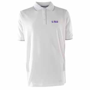 LSU Mens Elite Polo Shirt (Color: White) - Large