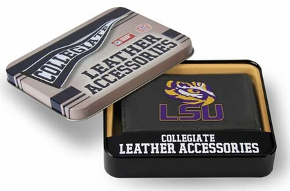 LSU Embroidered Leather Tri-Fold Wallet