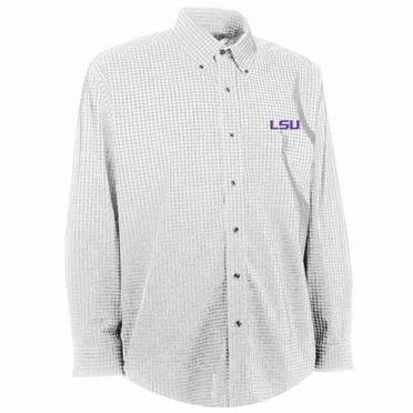 LSU Mens Esteem Check Pattern Button Down Dress Shirt (Color: White)