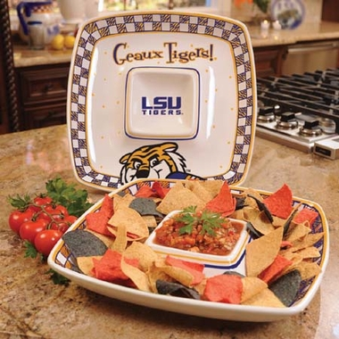 LSU Gameday Ceramic Chip and Dip Platter