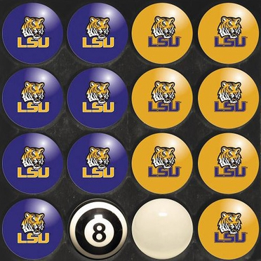 LSU Home and Away Complete Billiard Ball Set
