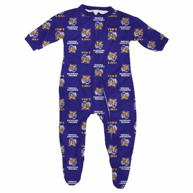 LSU Infant Footed Zip Raglan Coverall Sleeper