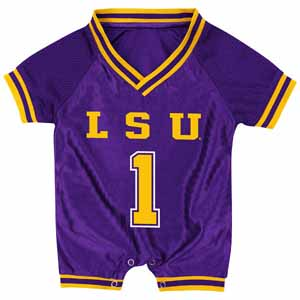 LSU Infant Pounce Football Jersey Onesie - 0-3 Months