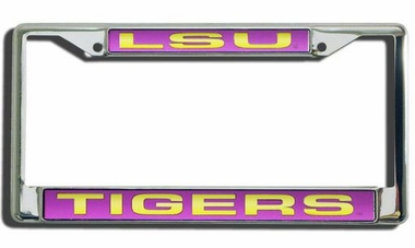 LSU Laser Etched Chrome License Plate Frame