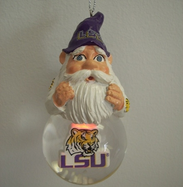 LSU Light Up Gnome Snow Globe Ornament