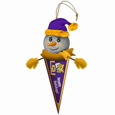 LSU Light Up Snowman Pennant Ornament (Set of 2)
