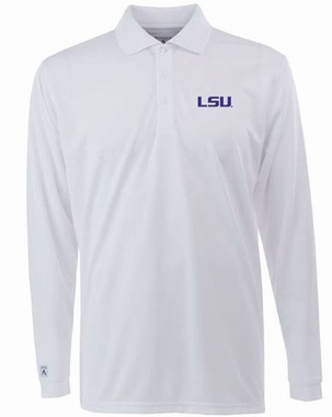LSU Mens Long Sleeve Polo Shirt (Color: White)