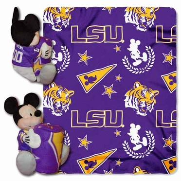 LSU Mickey Mouse Pillow / Throw Combo