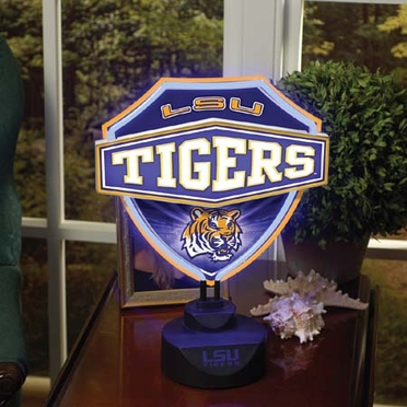 LSU Neon Shield Table Lamp