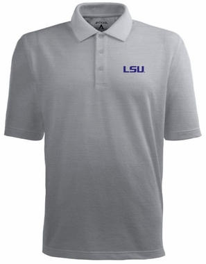 LSU Mens Pique Xtra Lite Polo Shirt (Color: Gray)