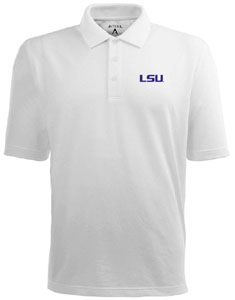 LSU Mens Pique Xtra Lite Polo Shirt (Color: White) - Large