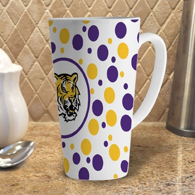LSU Polkadot 16 oz. Ceramic Latte Mug